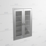 "Stainless Lab Supplies Cabinet with Glass Doors (3' 6""W x 1' 6""D x 5' 0""H), #SMS-58-DH421863R"