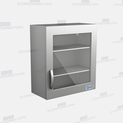 Stainless Wall Mounted Cabinets Glass Doors Medical Lab Storage