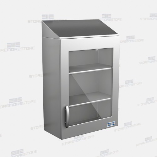 Hanging Wall Cabinet hanging stainless wall cabinets glass fronts sloped tops lab
