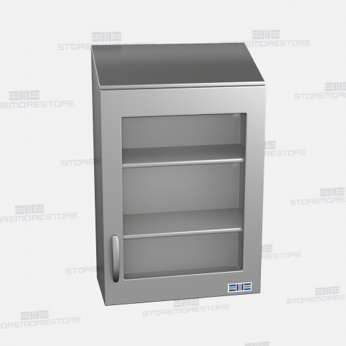 Hanging Upper Kitchen Cabinets: Hanging Stainless Wall Cabinets Glass Fronts Sloped Tops