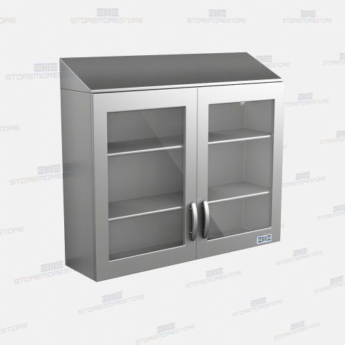 Stainless Upper Wall Cabinets Glass Fronts Hinged Doors Sloped Tops