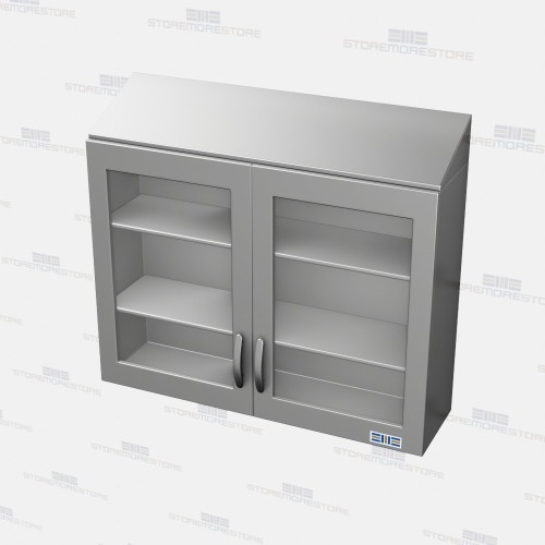 stainless upper wall cabinets glass fronts hinged doors
