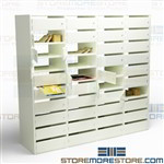 Double-sided Mailroom Mail Shelves Pass Thru Wall Office Services Mailboxes