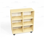 Rolling Bookcase Shelving Maple Wheeled Library Storage Book Carts Wooden Racks