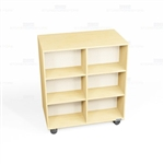 Mobile Oak Veneer Bookcases Rolling Library Shelf Storage Book Shelving Racks