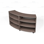 Convex Library Shelves on Wheels Laminate Bookcase Curved Storage Carts Racks