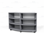 Circular Mobile Book Shelves Laminate Library Cart Curved Storage Bookcases