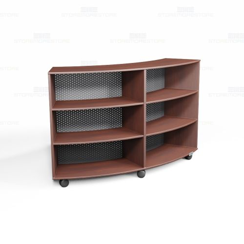 Circular Library Shelves Wheels Oak Veneer Mobile ...
