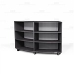 Convex Rolling Library Shelves Melamine Storage Bookcases Semicircle Design Arc