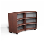 Convex Mobile Library Bookcases Maple Curved Shelf Storage Bookshelves on Wheels