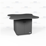 Clover Shape Copy Room Workcenter Counter Cabinets Rolling Casework Millwork