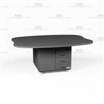 Oval Copy Room Casework Island Mobile Workcounter Rolling Furniture Counters