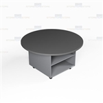 Round Top Office Work Island Mobile Counter Mobile Rolling Casework Furniture