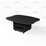 Oval Shape Mobile Work Island Office Counter Desk Rolling Storage Workcounters