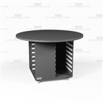 Round Shape Copy Room Work Island Rolling Counters Mobile Workcounter Furniture