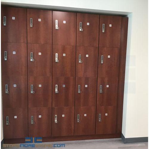 Four Tier Wood Laminate Locker With Key Locks Employee Staff Uniform Storage Lockers Cabinets For Personal Effects Locking Cubbies Legacy D4721215 Wood Lockers 10 51 16 Keyless Locker Plastic Laminate Clad Lockers 10 51 23