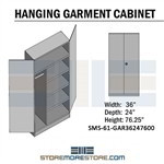 Locking Garment cabinet storage cabinet for storing hanging and folded clothing