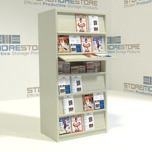 Popular Freestanding Library Slanted Hinged Shelf Storage Racks Magazine  DW79