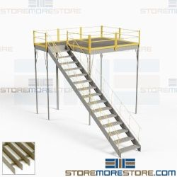Storage Mezzanine with Stairs Handrails Deck Freestanding Platform Structures