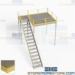 Mezzanine Warehouse Storage Loft Industrial Platforms Anti-Skid Decking OSHA