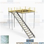 Free Standing Mezzanine with Landing Stairs Handrail Solid Steel Deck 10x10x12