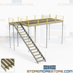 Industrial Mezzanine with Stairs Handrails Grating Decks Freestanding Prefab