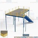 Mezzanine Loft Kit Industrial Steel Second Story Platform 10'x20' Handrail Stair