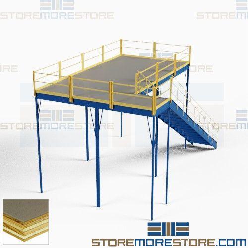 Mezzanine Loft Kit with Anti-Skid Tuffdeck (10'W x 20'D x 12'H),  #SMS-62-1020-12GMEZ-RT-17
