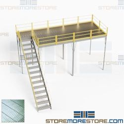 Prefabricated Steel Mezzanine Freestanding Post Beam Steel Decks 10'x20' Storage