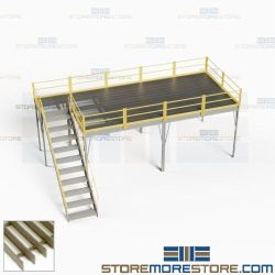Freestanding Storage Mezzanine Warehouse Platforms Handrails OSHA Stairs Deck