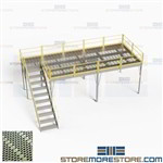 Prefab Freestanding Mezzanine Storage Structure Steel Grating Deck Stair Railing