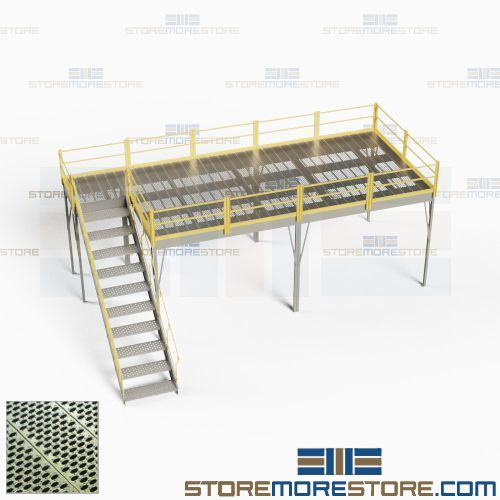 Prefab Freestanding Mezzanine with Perforated Steel Grating Deck (10'W x  20'D x 8'H), #SMS-62-1020-8GMEZ-PG-17