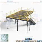 Steel Mezzanine Kits Prefabricated Freestanding Platforms 10'x20' OSHA Stairs