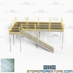 Two-Story Mezzanine Platforms Freestanding Storage Levels Warehouse Floorspace