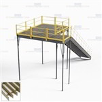 Warehouse Storage Mezzanine Steel Upper Platform Deck Prefab Decks Handrails