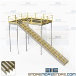 Storage Platforms with Stairs Mezzanine Handrails IBC Code Warehouse Floorspace