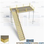 Steel Platform Mezzanines Warehouse Storage Second Level Floorspace Deck Stairs