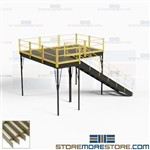 Warehouse Mezzanine Prefabricated Freestanding Post Beam Steel Bar Grating Deck