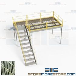 Freestanding Mezzanine with Stairs Perforated Decking Steel Storage Platforms