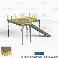 Mezzanine Loft with Stairway Industrial Freestanding Platform 12'x8' Warehouse