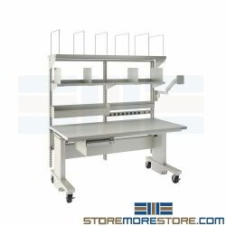 Workbench with Adjustable Height Worksurface Ergonomic Packing Shipping Bench