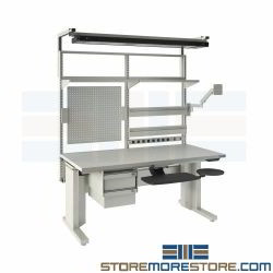 Technician Workbench Adjustable Height Tech Assembly Bench Workstation Sit Stand