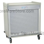 Short Double Column Medical storage cart with locking roll-down door. Standard sand color with 15 other available colors.