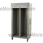 Double Column Medical storage cart with roll-up locking door. Standard sand color with 15 other available colors.
