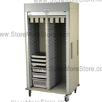 Preconfigured Cath Lab Medical storage cart, with six full extension catheter slides, standard sand color with 15 other available colors.