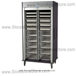 Preconfigured Cath Lab Medical storage cart, a gray roll-up door, standard sand color with 15 other available colors.