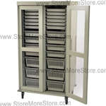 MS8140DR-A Preconfigured Double Column Medical Cart with Clear Panel Locking Double Doors, durable hard-baked hammer-beige powder coat textured finish.