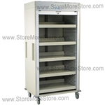 Full Shell Medical Storage Cart Equipped with Five Shelves and a Locking Roll-up Door, Color sand.