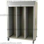 Putty 3 door locking medical storage cart, with foot brake and adjustable shelving slots.
