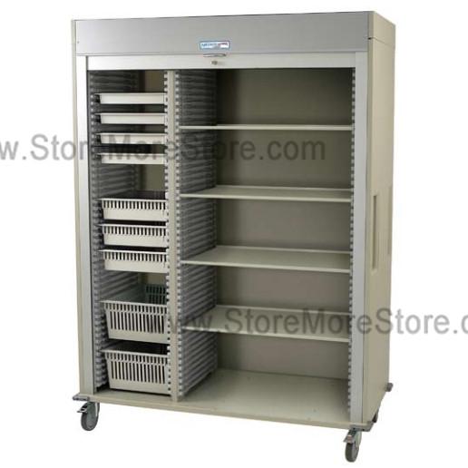 Preconfigured Triple Column Medical Storage Cart with Roll-up Door, 80 5
